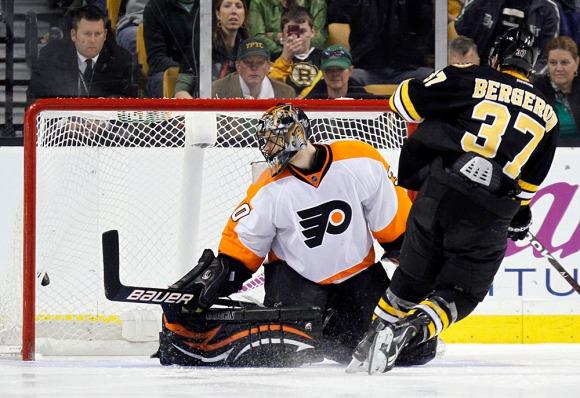 Patrice Bergeron, Ilya Bryzgalov - Flyers vs Bruins