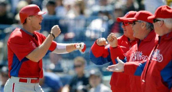 Hunter Pence After Scoring - Phillies vs Yankees Spring Training 2012