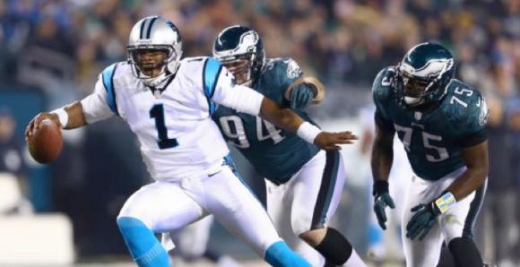 Cam Newton breaks Eagles tackles (via NYDailyNews)