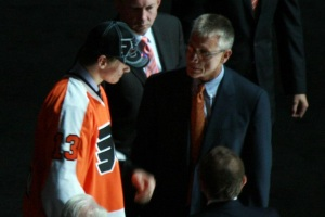 Holmgren with Flyers 1st round draft pick Sam Morin at the 2013 NHL Draft (photo courtesy of Amanda Kurtz)