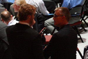 Holmgren talkin to Chris Pronger at the 2013 NHL Draft (photo courtest of Amanda Kurtz)