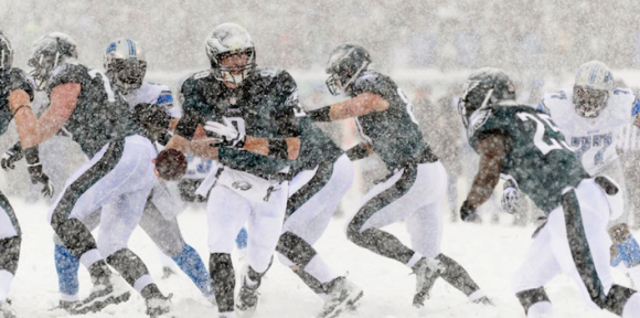 Nick Foles Eagles vs Lions - Snow Bowl