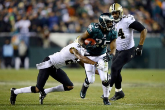 McCoy was in the grasp of Saints defenders all night (via ESPN)