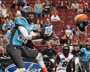Markee White catches Raudabaugh's rifle in the end zone with 2 seconds left, but the celebration was short-lived (Photo: Darryl Rule/Philadelphia Soul)