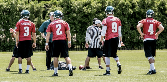 Eagles QBs at OTAs (Sanchez, Foles, Kinne, Barkley)