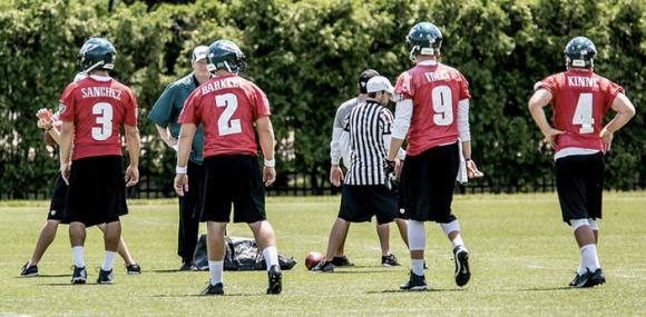 Eagles QBs at OTAs (Sanchez, Foles, Kinne, Barkley)